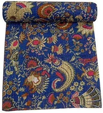 Textile Treasure - Manta de algodón hecha a mano para cama de matrimonio de lujo, tamaño king bohemio, decoración ...