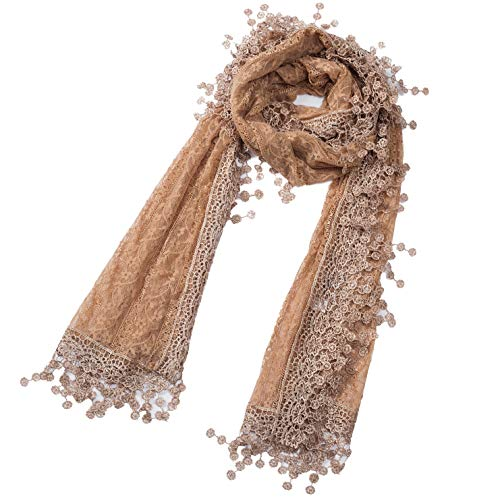 Cindy and Wendy Lightweight Soft Leaf Lace Fringes Scarf shawl for Women (Brown Floral with fringes)