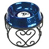 Platinum Pets Scroll Single Diner Stand, 6.25 Cup, Sapphire Blue, My Pet Supplies