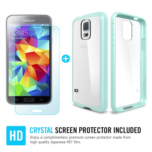 Spigen® [AIR CUSHION] [+Screen Shield] Samsung Galaxy S5 Case Bumper **New Release** ULTRA HYBRID [Mint] Air Cushion Technology Corners + Bumper Case with Clear Back Panel + Full HD *Japanese* Screen Protector for Galaxy S5 / Galaxy SV / Galaxy S V (2014) - ECO-Friendly Packaging - Mint (SGP10846)