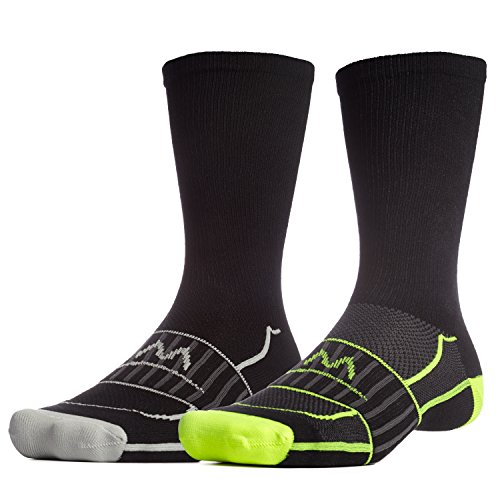 Performance Hockey Skate - Mission Men's VaporActive Performance Crew Socks (2 Pack), Black/Hi Vis Green/Grey, Large