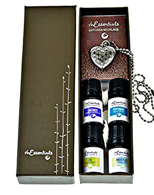 Heart Aromatherapy Essential Oil & Diffuser Necklace gift Set (Lavender Peppermint Zen Inner Peace) Ball Chain