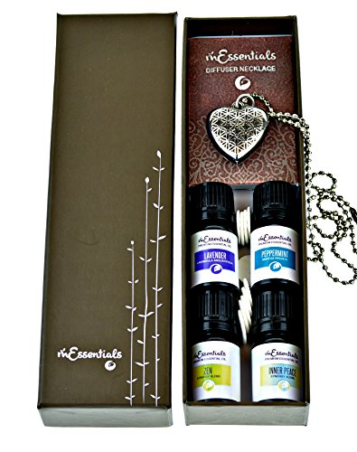 Heart Aromatherapy Essential Oil & Diffuser Necklace Gift Se