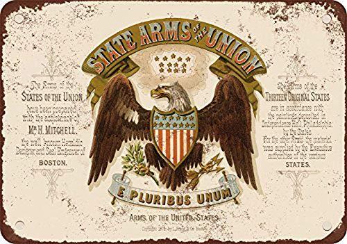 Laurbri Estados Unidos escudo de armas placa de metal cartel de advertencia cartel de chapa de hierro pintura dormitorio escuela pared pared arte bar cafe