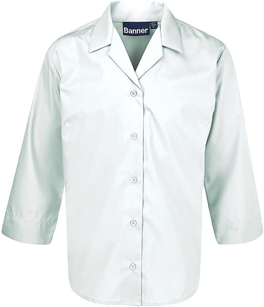 Twin Pack 3//4 Sleeve Revere Collar School Blouses Style 7082