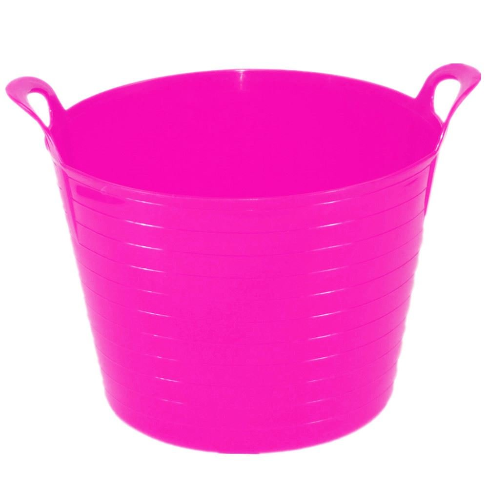 PINK 42 Litre Large Flexi Tub Garden Home Flexible Colour Rubber Storage Container Bucket Polyethylene Flex Tub - MADE IN U.K. UK