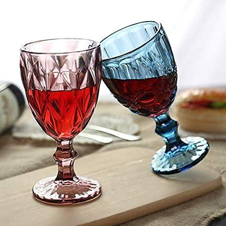 SKVVIDY Copas De Vino 300ml Vintage Cristal Vino Vino Champagne flauts Taza Gafas Boda Partido barbellets Cocina Jugo Bebida Taza Copas De Vino Tinto (Capacity : 300ml, Color : Blue Flower)