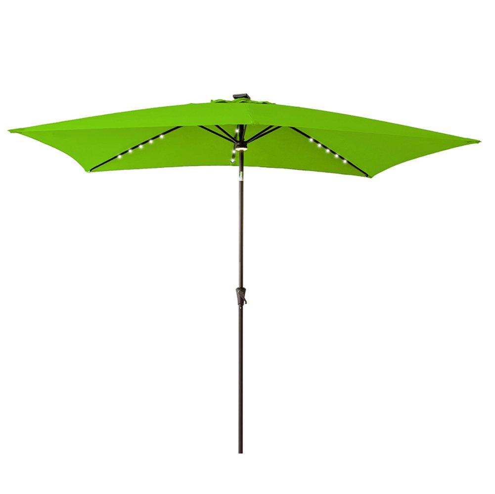 FLAME SHADE Solar LED Lighted Rectangular Outdoor Patio Umbrella with Tilt 6 6 x 10 for Rectangle Table Deck Garden, Apple Green
