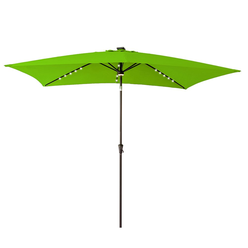 FLAME&SHADE Rectangular LED Light Outdoor Patio Umbrella, Crank Lift, Push Button Tilt, 6 feet 6 inch x 10 feet, Apple Green by FLAME&SHADE