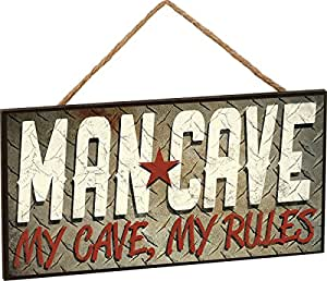 """Man Cave """"My Cave, My Rules"""" Decorative Hanging Wooden MDF Sign"""