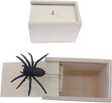 Surprise Box Wood Prank Spider Scare Box Hidden in Case Trick Play Joke Gag Toys