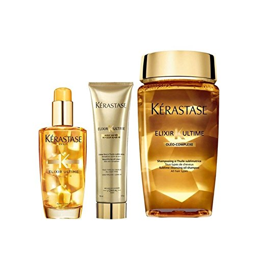 - Kérastase Elixir Ultime Huile Lavante Bain 250ml, Crème Fine 150ml And Original Hair Oil 100ml Bundle (Pack of 2)