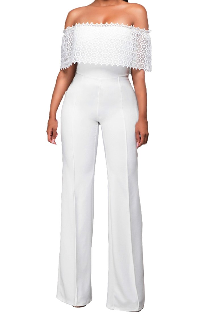 Rokiney Plus Size Elegant Off Shoulder Loose Pants Jumpsuits XL For Women White by Rokiney