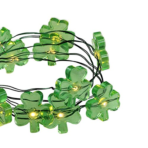 Northlight Set of 18 B/O Shamrock LED Micro Fairy St. Patrick's Day Lights - Ultra Thin Green Wire (Tree Light Christmas Micro)