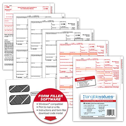 Tangible Values 1099 Misc Laser Tax Forms (4-Part) Kit with Env for 25 Vendors + 1096 forms, FREE form filler software, Designed for Accounting & QuickBooks Software (2019) (1096 Forms Laser)