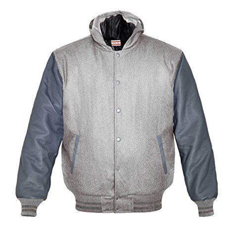 Orginal American Style Varsity Leather Biker Letterman College Men Wool Jackets Grey-grey Stripe XXX-Large