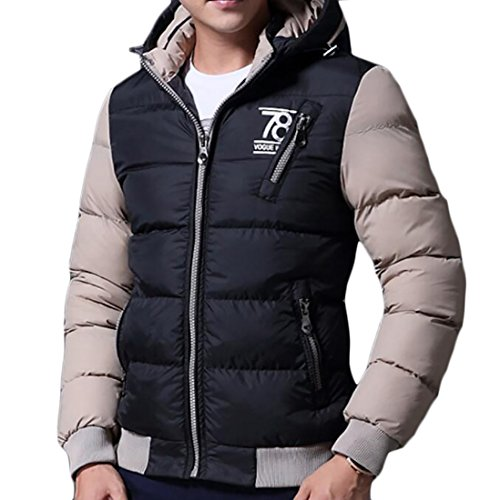 - Yayu Mens Winter Two-Tone Zipper Quilted Thicken Down Jackets Coats Black US L