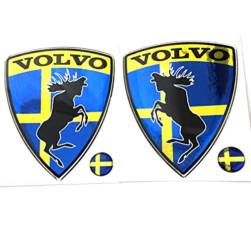 "Alstickers! Prancing Moose (ELK) Volvo Set 2 Pieces car Stickers, Polyurethane Resin Metallic Film 3.11""X2.56"" (79x65 mm)."