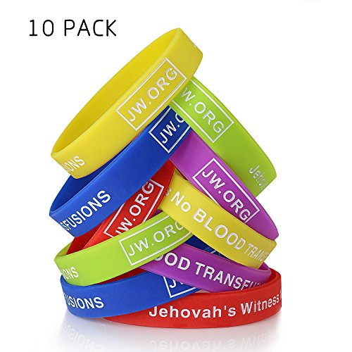 JW.org No Blood Medical Alert Flexible Silicone Wristband-10 pcs-Rainbow