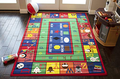 LA Academic Animal Zoo Alphabet Educational Pattern with Fruit Bowl Shapes School 5-Feet-by-7-Feet Polyester Made Boys Girls Area Rug Carpet Rug Multicolor
