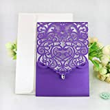 WOMHOPE 50 Pcs - Classics Vertical Wedding Invitation Hollow Laser Cut Lace Shimmer Party Invitations Cards Birthday Invitations Cards Wedding Favors (Purple) offers