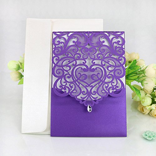 WOMHOPE 50 Pcs - Classics Vertical Wedding Invitation Hollow Laser Cut Lace Shimmer Party Invitations Cards Birthday Invitations Cards Wedding Favors (Purple)
