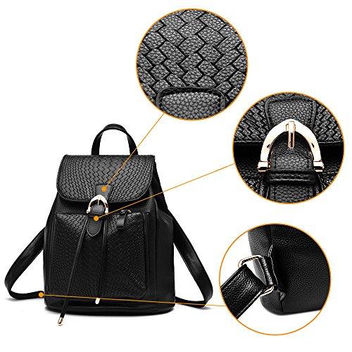 (JVP1027-B) Las señoras del estilo japonés mochila PU Brown 3way bolso de hombro trasero bolso de señora dulce cuero genuino popular suburbano ligero recuperación bolso informal Negro