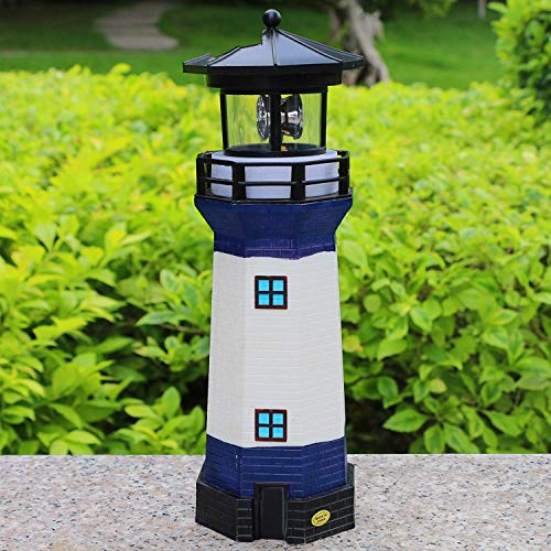 Solar Garden Lighthouse, White and Blue Lighthouse statutte with Rotating Lamp Outdoor Decorative LED Lights for Garden Patio Lawn (Led Lights Blue Solar Garden)