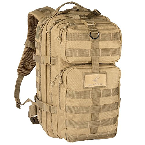 Exos Bravo Tactical Assault Backpack Rucksack. Great as a Bug Out Bag, Daypack, or Go Bag; for Hiking, or Camping. Molle equipped & hydration pack ready(Coyote Tan)
