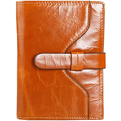 iKingsky Women's Fashion Waxy Genuine Leather Pure Color Short Purse Wallet with Card Bags (Camel)