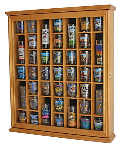 Oak Standard Cabinet - 41 Shot Glass Display Case Holder Cabinet Wall Rack with Glass Door (Oak Finish)