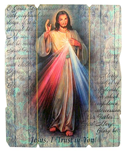 Laser Cut Wood Divine Mercy Icon Wall Plaque, 9 1/4 Inch ()