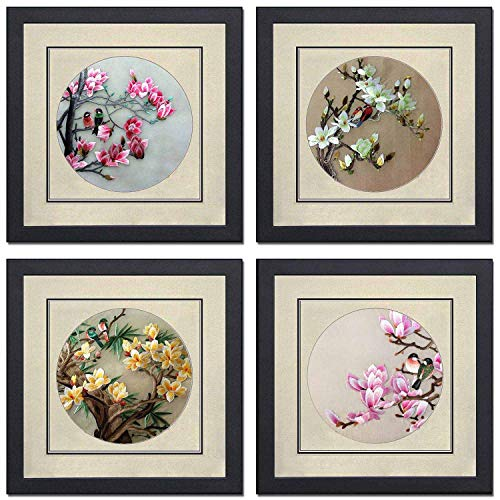 Silk Art 100% Hand Embroidery Framed Mixed Group Love Birds on Trees Chinese Print Wildlife Bird Painting Anniversary Wedding Party Gifts Oriental Asian Wall Art 35021WF 35022WF 35023WF 35024W