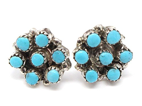 Zuni Synthetic Turquoise Cluster Post Earrings by Booqua | 7/16