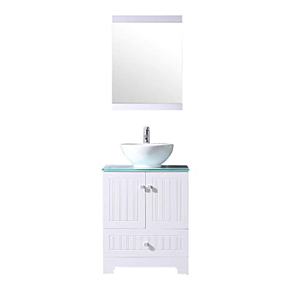 . Sliverylake 24  Bathroom Vanity Ceramic Vessel Sink Combo PVC Cabinet Blue  Countertop Sink Bowl w  Mirror Set  Bowl