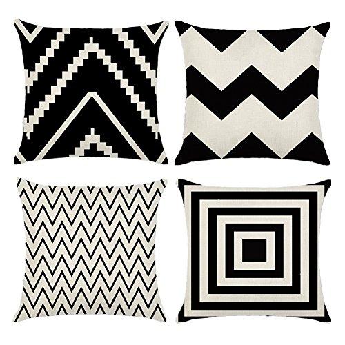Easternproject Nordic Black White Geometric Cotton Linen Throw Pillow Case Square Decorative Cushion Cover 18 X 18 Set Of 4 Black White Buy Online In Aruba At Aruba Desertcart Com Productid 87762670