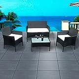 Britoniture Rattan Garden Furniture Set Patio Conservatory 4 Piece Set Indoor Outdoor Black