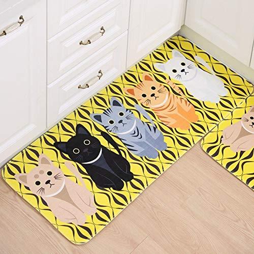 Comfortable Bathroom Carpet 4060/50180cm Kitchen Rugs Cartoon Cat Pattern Non-slip Bath Mat Large Living Room Doormat Foot Pad 40x60cm