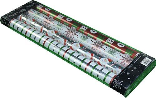 - Kirkland Signature 4 Rolls of Christmas Wrap, Red/White/Green