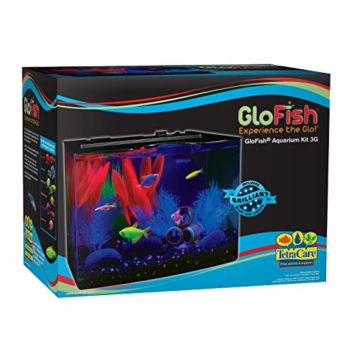 - GloFish 3 Gallon Aquarium Kit w/ Cover, Frame, LEDs, Power & Filter