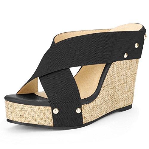 8 Wedge Espadrille - Allegra K Women's Open Toe Linen Platform Slide Wedge Sandals (Size US 8) Black