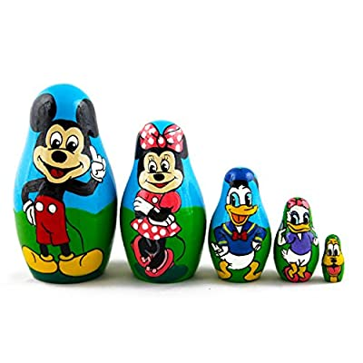 Matryoshka Babushka Russian Nesting Wooden Doll Cartoon Mickey Mouse Minnie Donald Duck Babouska Matrioska Stacking 5 Pcs: Toys & Games