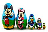 Matryoshka Babushka Russian Nesting Wooden Doll Cartoon Mickey Mouse Minnie Donald Duck Babouska Matrioska Stacking 5 Pcs