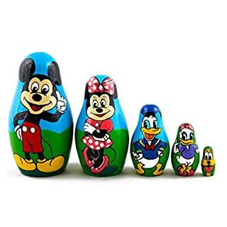 Matryoshka Babushka Russian Nesting Wooden Doll Cartoon Mickey Mouse Minnie Donald Duck Babouska Matrioska Stacking 5 Pcs