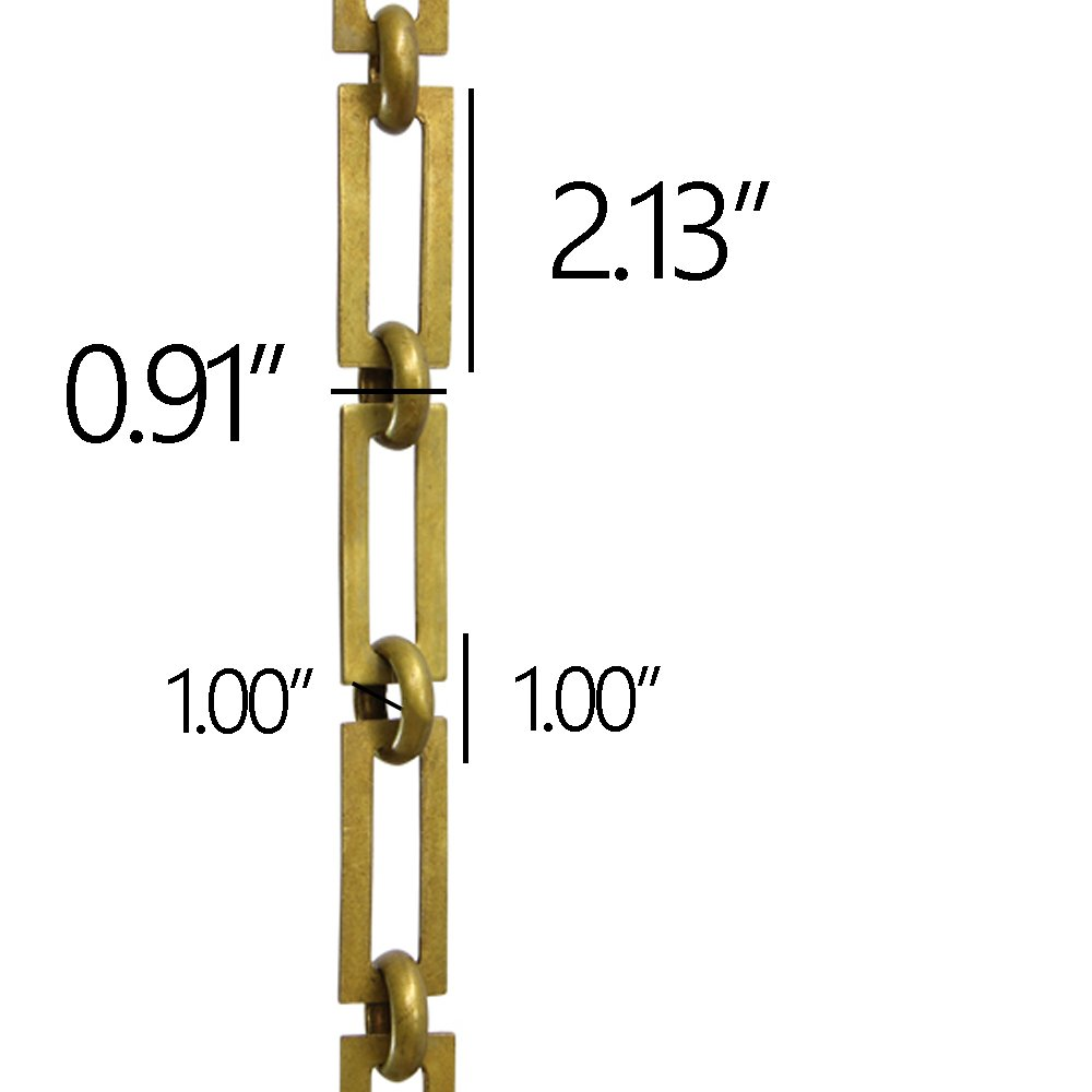 RCH Hardware CH-01-PB-3 Decorative Polished Solid Brass Chain for Hanging, Lighting - Rectangular Square Edge and Unwelded Links (3 ft/1 Yard) by RCH Hardware (Image #2)