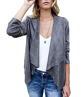 XARAZA Women's Open Front Faux Suede Jacket Outerwear