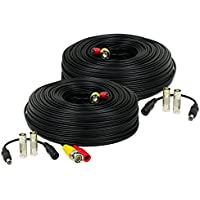Amcrest 2-Pack 150 Feet Pre-Made All-in-One Siamese BNC Video and Power CCTV Security Camera Cable with Two Female Connectors for 960H & HD-CVI Camera and DVR (SCABLEHD150B-2pack)