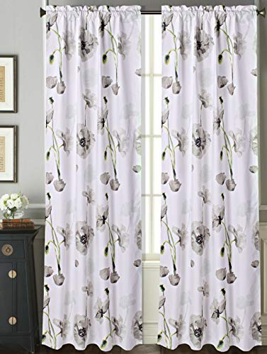 -   Sapphire Home 2 Rod Pocket Curtain Panels 84 Inches Long, Decorative Floral Print, Light Filtering Room Darking Thermal Foam Back Lined Curtain Panels for Living/Bedroom/Patio Door, DRP 84
