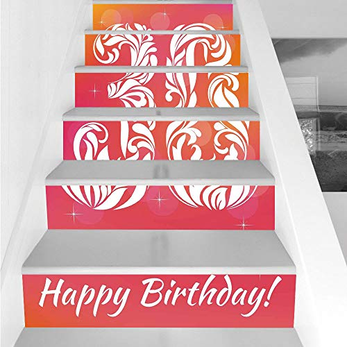 Stair Stickers Wall Stickers,6 PCS Self-Adhesive,30th Birthday Decorations,30 Years Birthday Theme Decorative Font Floral Elements,Pink Orange White,Stair Riser Decal for Living Room, Hall, Kids Room for $<!--$26.66-->