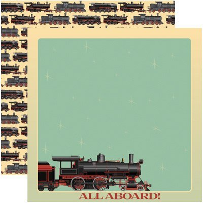 Train Scrapbook Double Sided Paper 5 Sheets Reminisce Signature Series